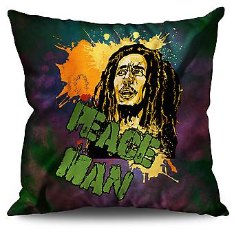 Bob Marley Peace Rasta Linen Cushion 30cm x 30cm | Wellcoda