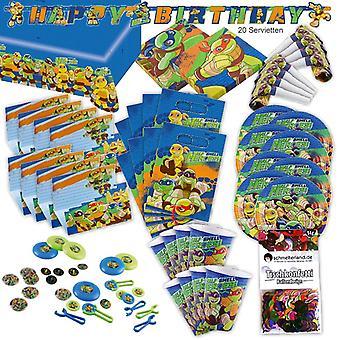 Turtles Half Shell Heroes Party Set XL 95-teilig für 8 Gäste Turtle Schildkröten Deko Partypaket