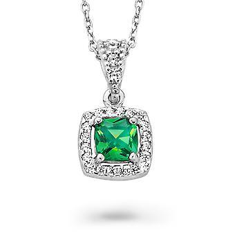 Orphelia plata 925 cadena con colgante princesa circonio verde ZH-7199/GR