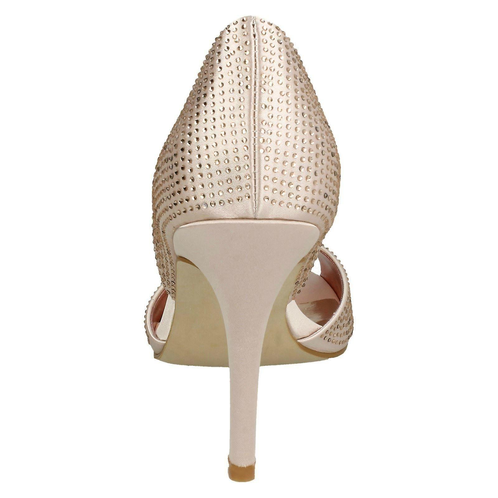 Ladies Anne Michelle Diamante Peep Toe High Heels F10845