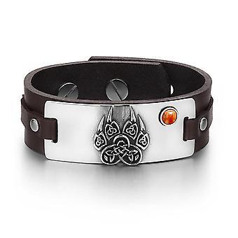 Starożytnych Azteków Celtic węzłów Wolf Paw Amulet czerwony jaspis kamień szlachetny regulowany skórzany Brązowy bransoletka