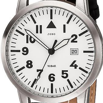 JOBO men's wristwatch quartz analog stainless steel leather strap schwarzHerrenuhr date