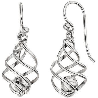 Earrings ball 925 Sterling Silver earrings Silver earrings moving balls