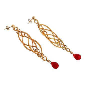 Damer Guld belagte øreringe af rød jade jade smykker sølv