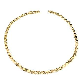 14K Yellow Gold Diamond Cut Hearts Chain Anklet, 10