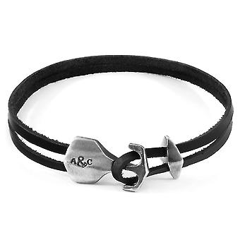 Coal Black Delta Anchor Silver And Flat Leather Bracelet
