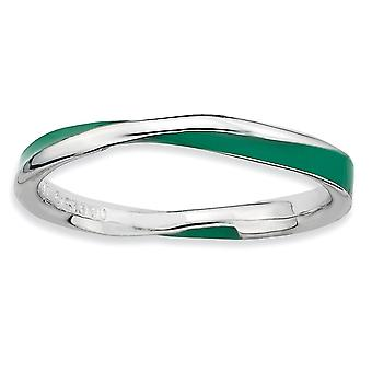 925 Sterling Argent Poli Rhodium plaqué Twisted Green Enameled 2.5 x 2.25mm Stackable Ring Jewelry Gifts for Women