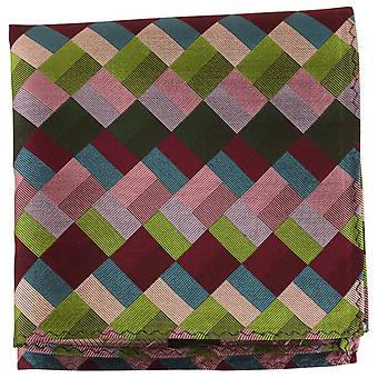 Найтсбридж Neckwear Diamond шелка карман площадь - зеленый/многоцветными