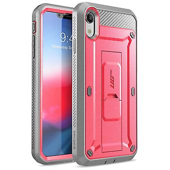 iPhone XR Case, Full-Body Rugged Holster Case with Built-in Screen Protector, Unicorn Beetle Pro Series - (Pink)