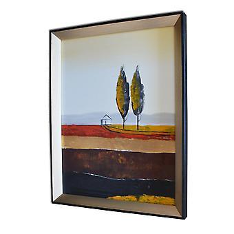 Landskab, oliemaleri med ramme, 30x40 cm
