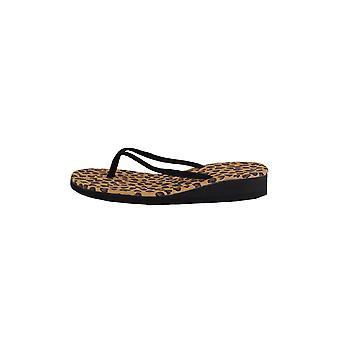 LMS preto liso Flip-Flops com Leopard impressão sola