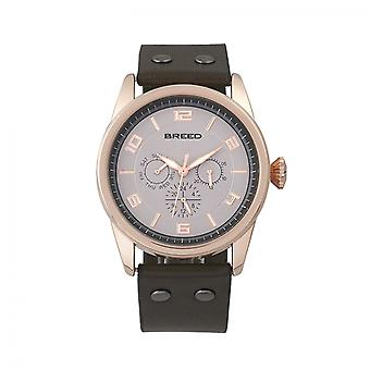 Breed Rio Leather-Band Watch w/Day/Date - Rose Gold/Brown