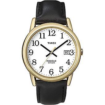 Timex T2H291 Armbanduhr, Herren analogen Zifferblatt, schwarzes Lederband, weiß/Gold/schwarz