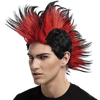 Double Mohawk Wig Black Red For Adults