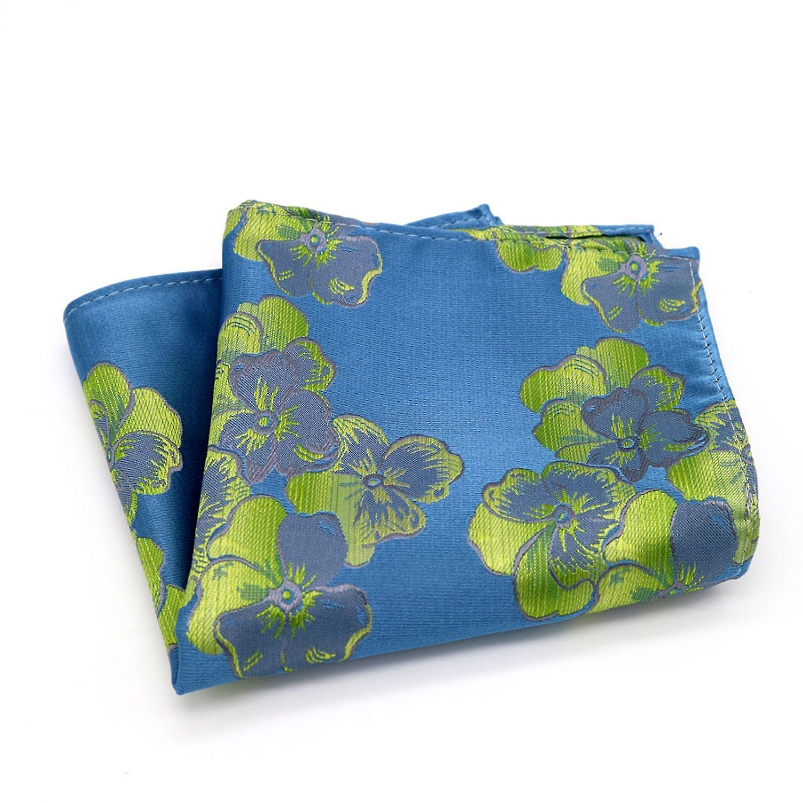 Blue & lime green mixed wedding floral pocket square
