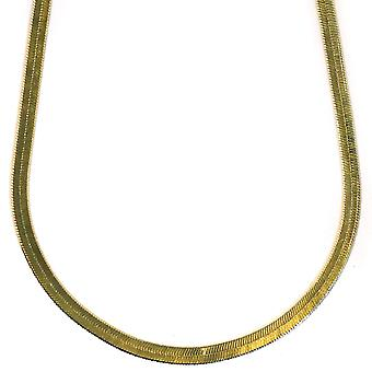 14K Gold Plated Herringbone Chain Necklace 4mm x 20 inches Brass