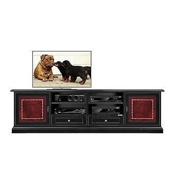 2-metre TV holder Black and Gold leather inserts