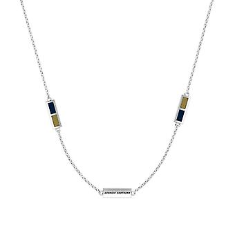 Georgia Southern University Sterling Silver Engraved Triple Station In Necklace Blue and Gold