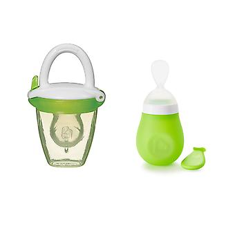 Munchkin Baby Feeding Bundle Squeeze Presser Spoon & Baby Food Feeder Green
