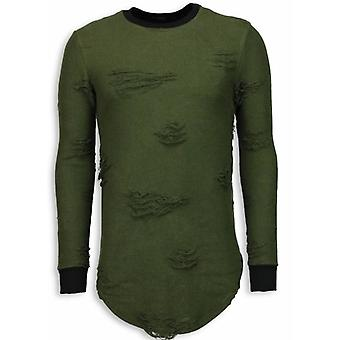 Destroyed Look Sweater-New Trend Long Fit Sweatshirt-Green