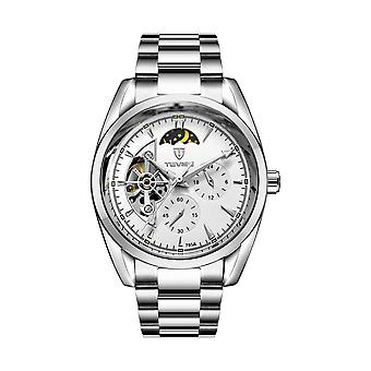 Tevise Mens Homage Automatic Mechanical Watch White Silver Smart Watches T795 UK