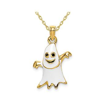 14K Yellow Gold Ghost Charm Pendant Necklace with Chain