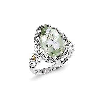 925 Sterling Silver Polished Prong set Cabochon top With 14k Green Quartz Ring Jewelry Gifts for Women