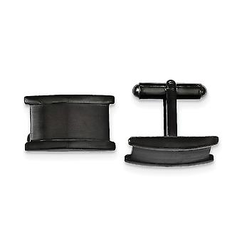 Stainless Steel IP black plated Black Ip plated Brushed and Polished Cuff Links Jewelry Gifts for Men