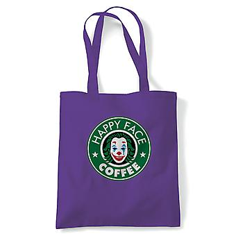 Happy Face Coffee Movie Inspired Tote | Reusable Shopping Cotton Canvas Long Handled Natural Shopper Eco-Friendly Fashion