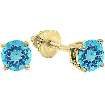 Dazzlingrock Collection 18K 5.5mm each Round Cut Blue Topaz Ladies Solitaire Stud Earrings, Yellow Gold