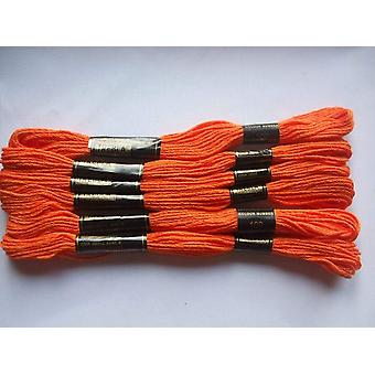 Pack of 6 Trebla Embroidery Thread / Skeins - 8m - Orange - Col. 109