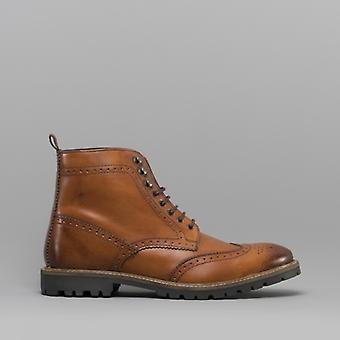 Base London Troop Mens Washed Leather Derby Boots Tan