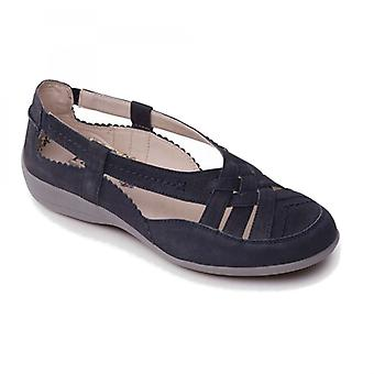 Padders Delta Ladies Leather Extra Wide (2e) Shoes Navy