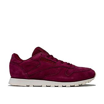 Womens Reebok Classic Leather Trainers In Rustic Wine / Chalk