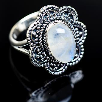 Rainbow Moonstone ring size 8,25 (925 sterling sølv)-håndlavede Boho vintage smykker RING980650
