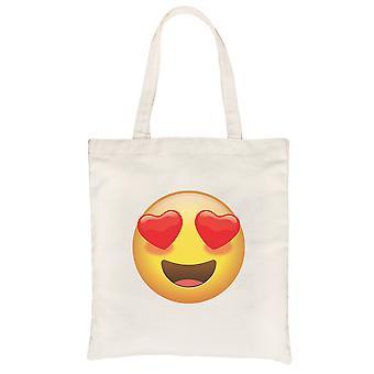 Emoji-Heart Eyes Natural Canvas Shoulder Bag Silly Nice Gag Gift