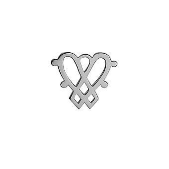 Sølv 31x27mm Luckenbooth dobbelt hjerte broche