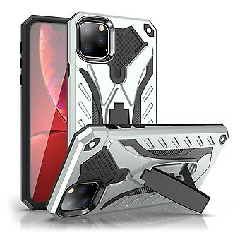 Pour iPhone 11 Pro Max Case, Armour Strong Shockproof Cover Kickstand, Argent
