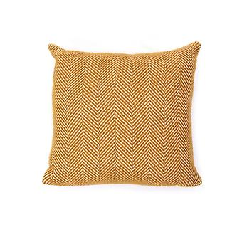 Tweedmill Pure New Wool Fishbone Cushion - English Mustard 30cm X30cm