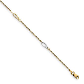 3mm 14k Two tone Polished With 1 In Ext. Anklet 9 Inch Jewelry Gifts for Women - 2.1 Grams