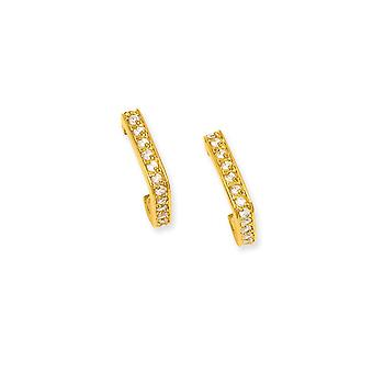 14k Gold Plated Post Earrings Square Hoop CZ Cubic Zirconia Simulated Diamond Earrings Jewelry Gifts for Women