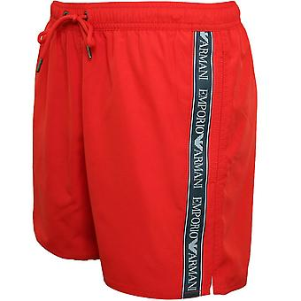 Emporio Armani Logo Tape Swim Shorts, Red Clay