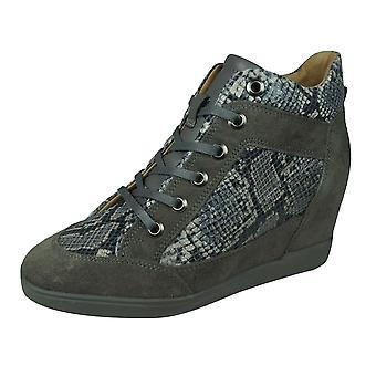 Geox D Carum C Womens Leather Wedge Trainers / Boots - Grey