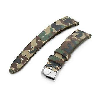 Strapcode العسكرية ووتش حزام 20mm miltat الايطالية المصنوعة يدويا التمويه نمط حزام ووتش، 16mm نهاية، خياطة الكاكي