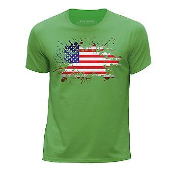 STUFF4 Boy's Round Neck T-Shirt/USA American Flag/Green