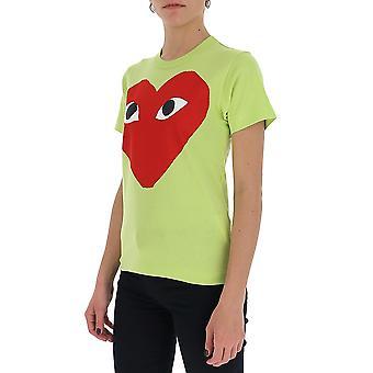 Comme Des Garçons Play P1t2732 Women's Green Cotton T-shirt
