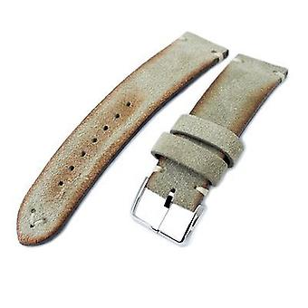 Strapcode leather watch strap 20mm, 21mm, 22mm miltat grey green genuine nubuck leather watch strap, beige stitching, polished buckle