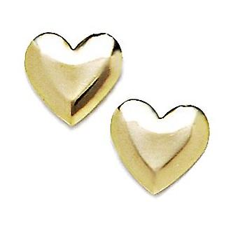 14k Yellow Gold Love Heart Stamping for boys or girls Earrings Measures 10x11mm