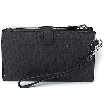 Michael kors jet set double zip wristlet phone wallet black mk 2019