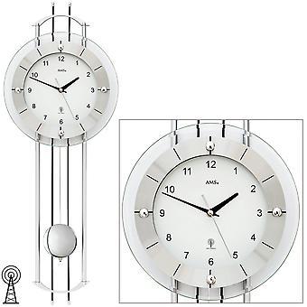 AMS 5248 الحائط ساعة راديو الحائط راديو مع البندول الفضة الحديثة البندول ساعة مع الزجاج